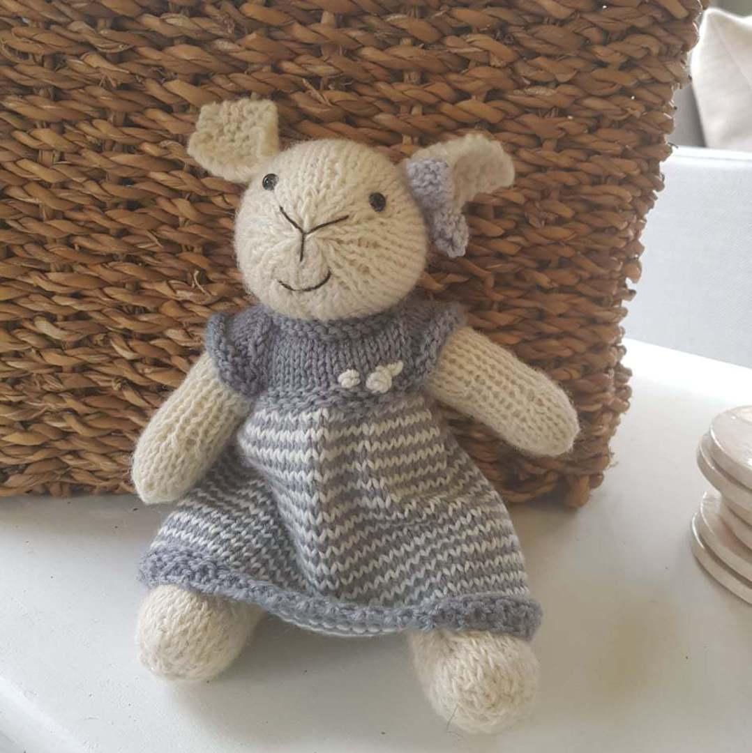 Wool Lamb Teddy - grey stripe dress with a bow image 0
