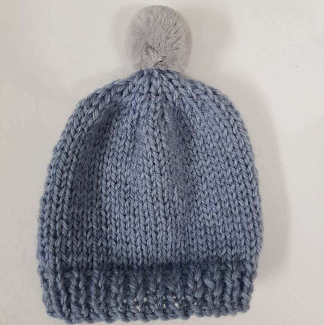 Merino Baby Hat with Pom Pom image 1
