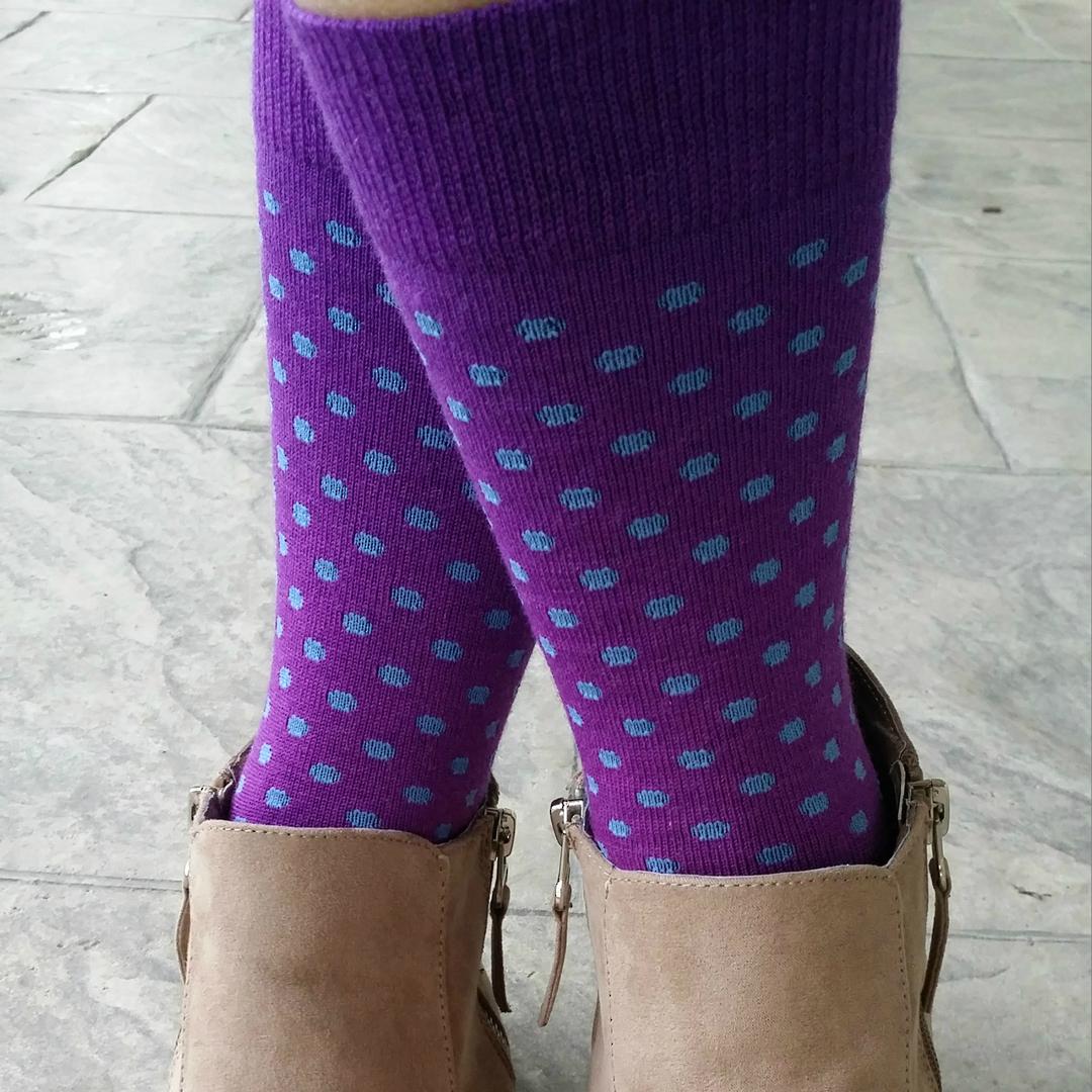 Polka Dot Merino Crew Socks - Unisex image 4