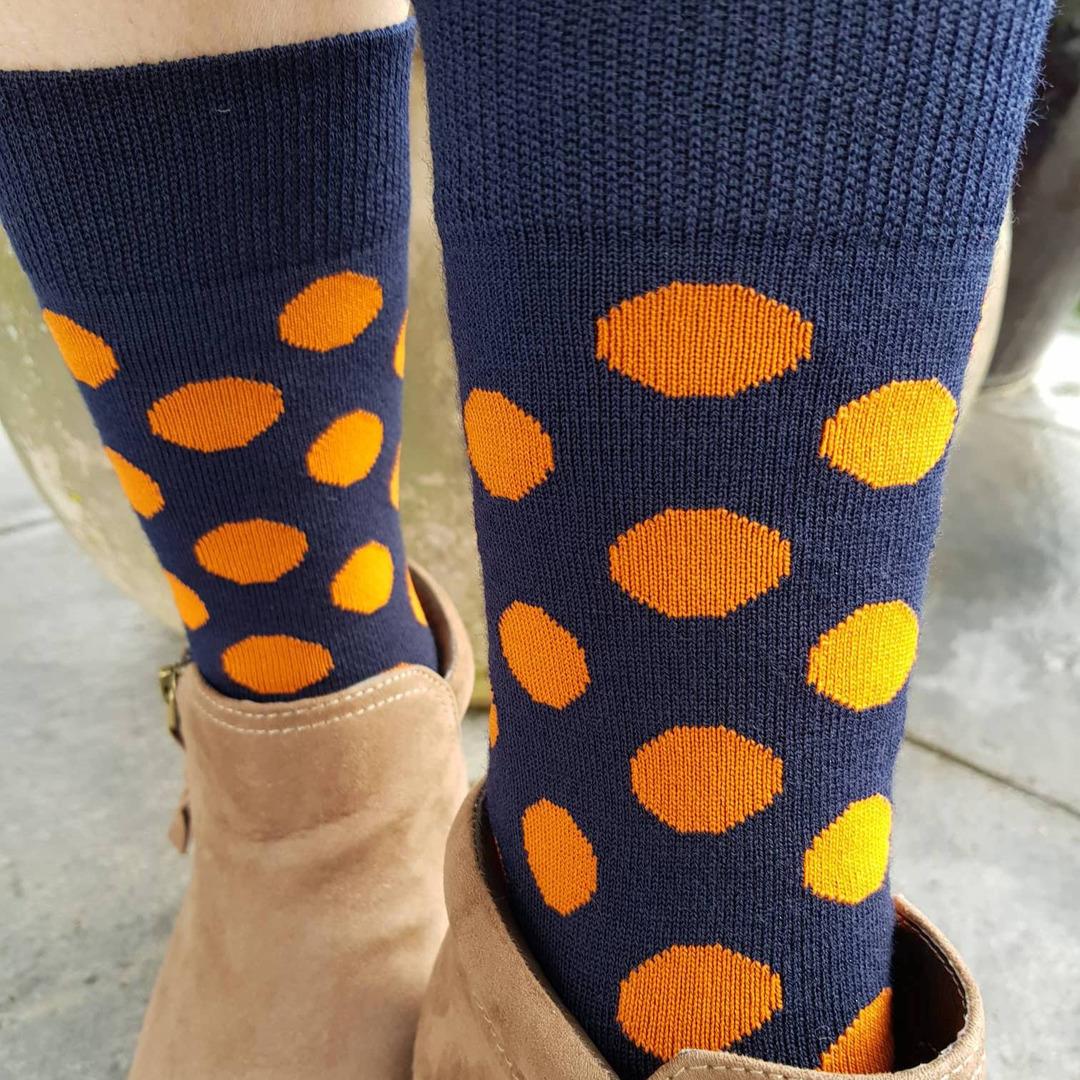 Merino Dot Socks - Navy with orange - Womens one size fits all. image 0