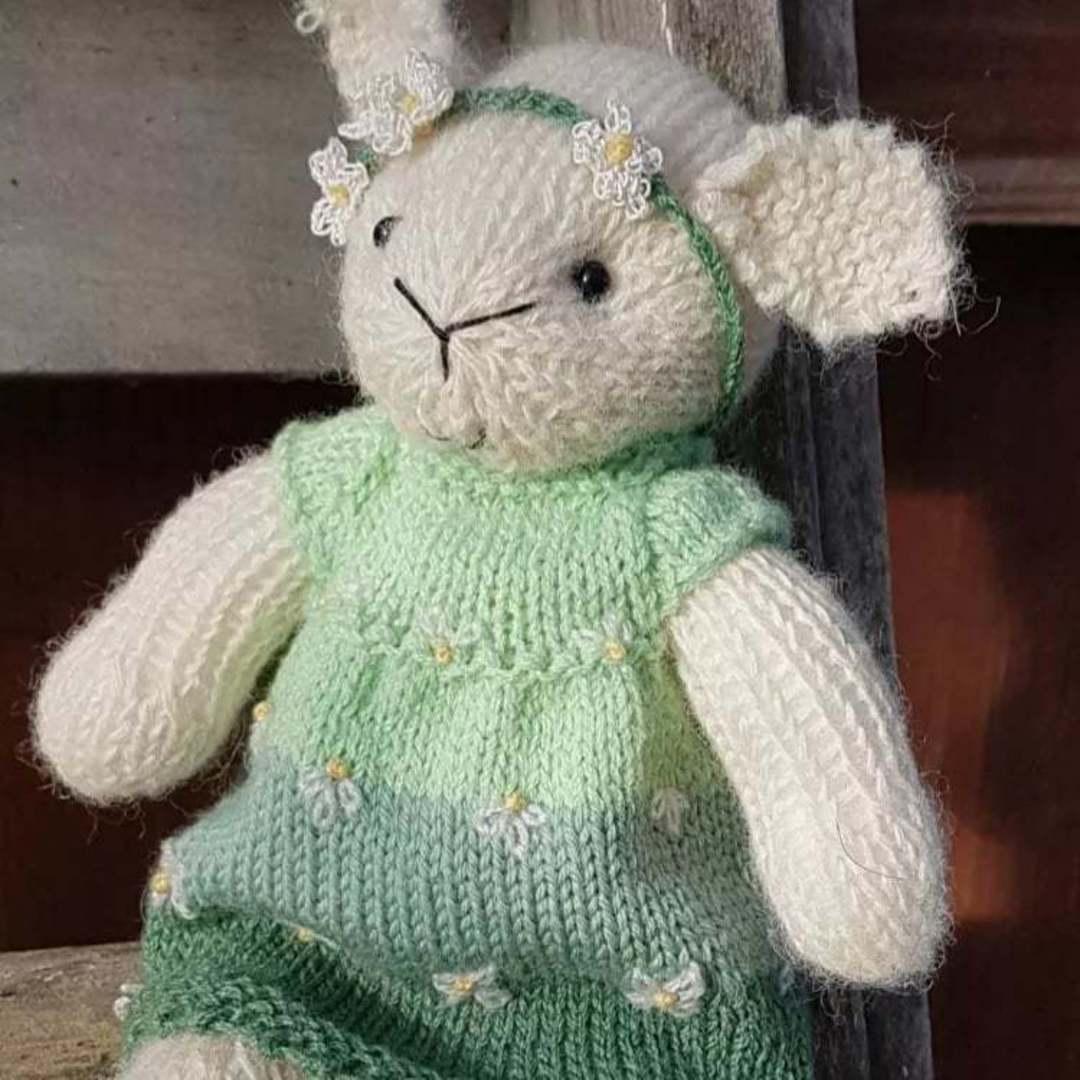 Wool Lamb Teddy - green stripe with head band image 0