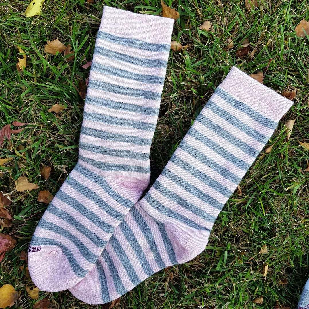 Full Cushion Merino Sock with Pink Stripes image 0
