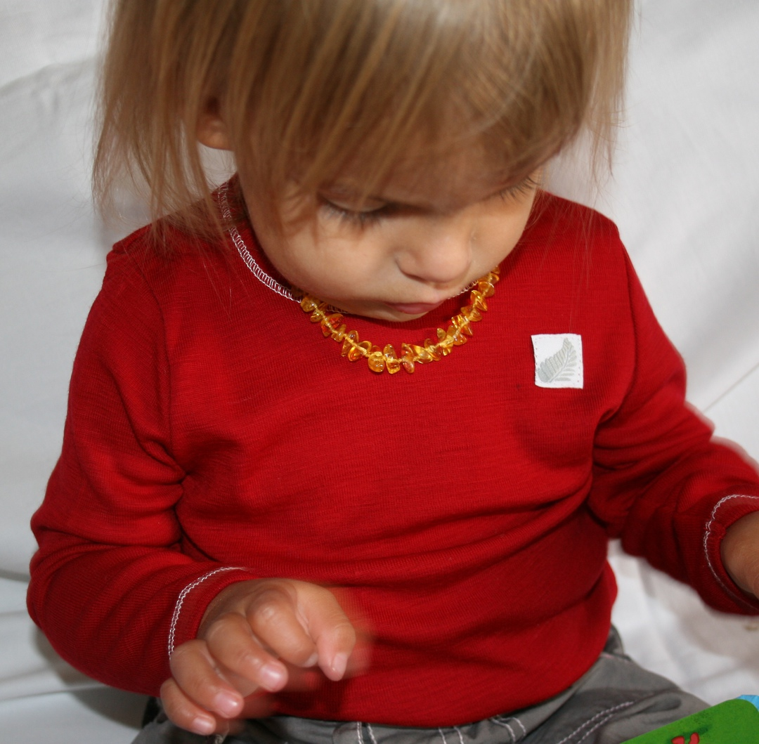Merino Wool Baby Top - plain image 3