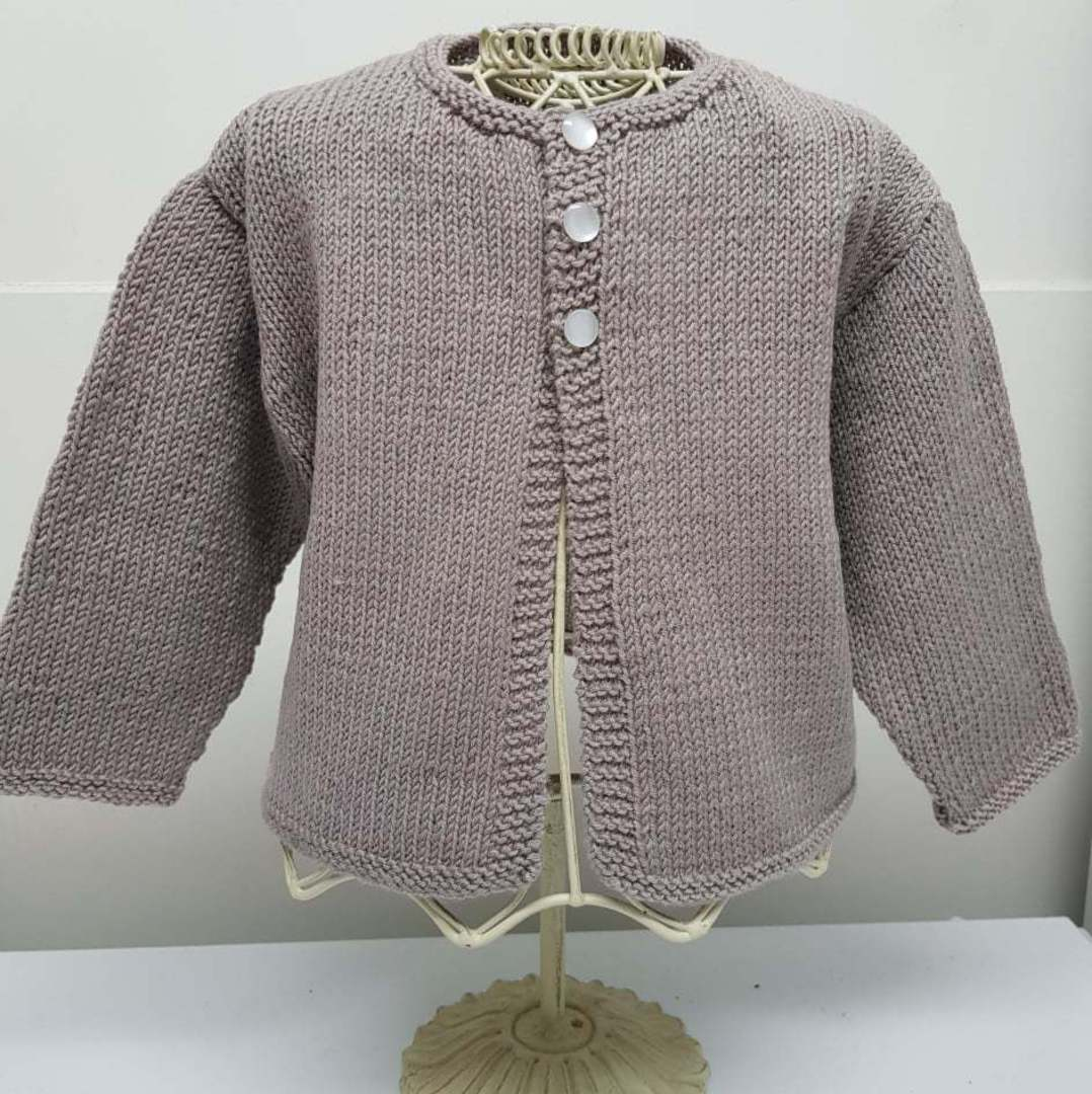 Merino Baby Knit Cardigan - mushroom pink. 6 -12 months image 0