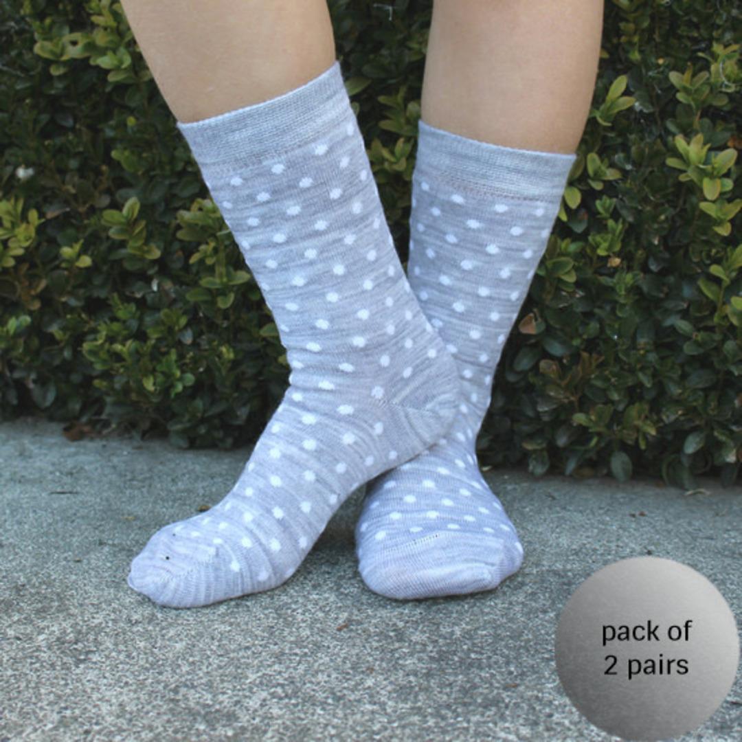 Merino Crew Socks - Grey Dot image 0