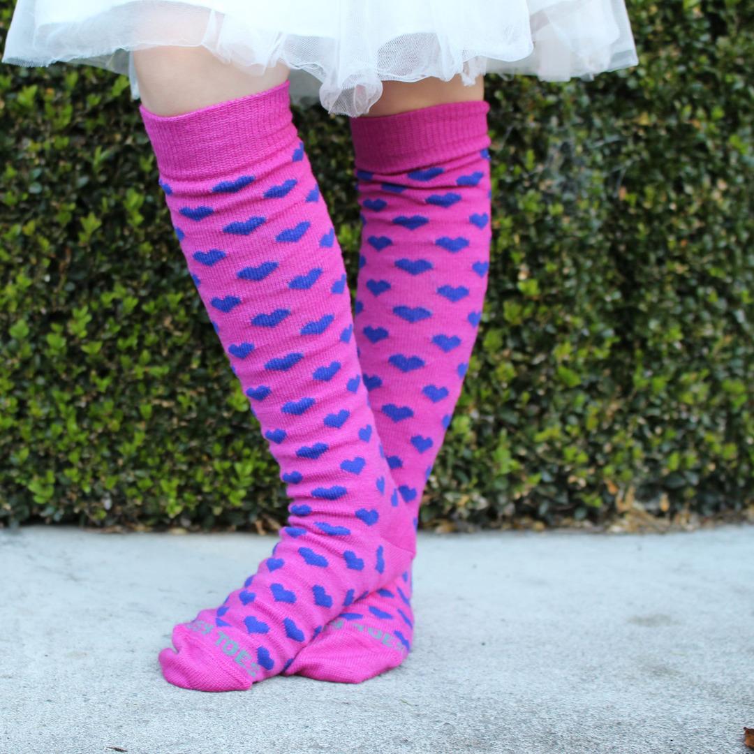 Long Merino Pink Heart Socks - Child image 0