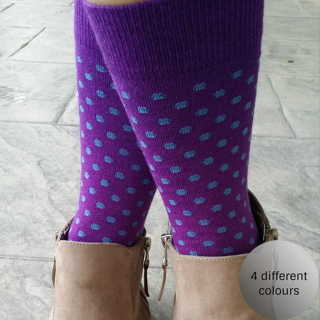 Polka Dot Merino Crew Socks image 0
