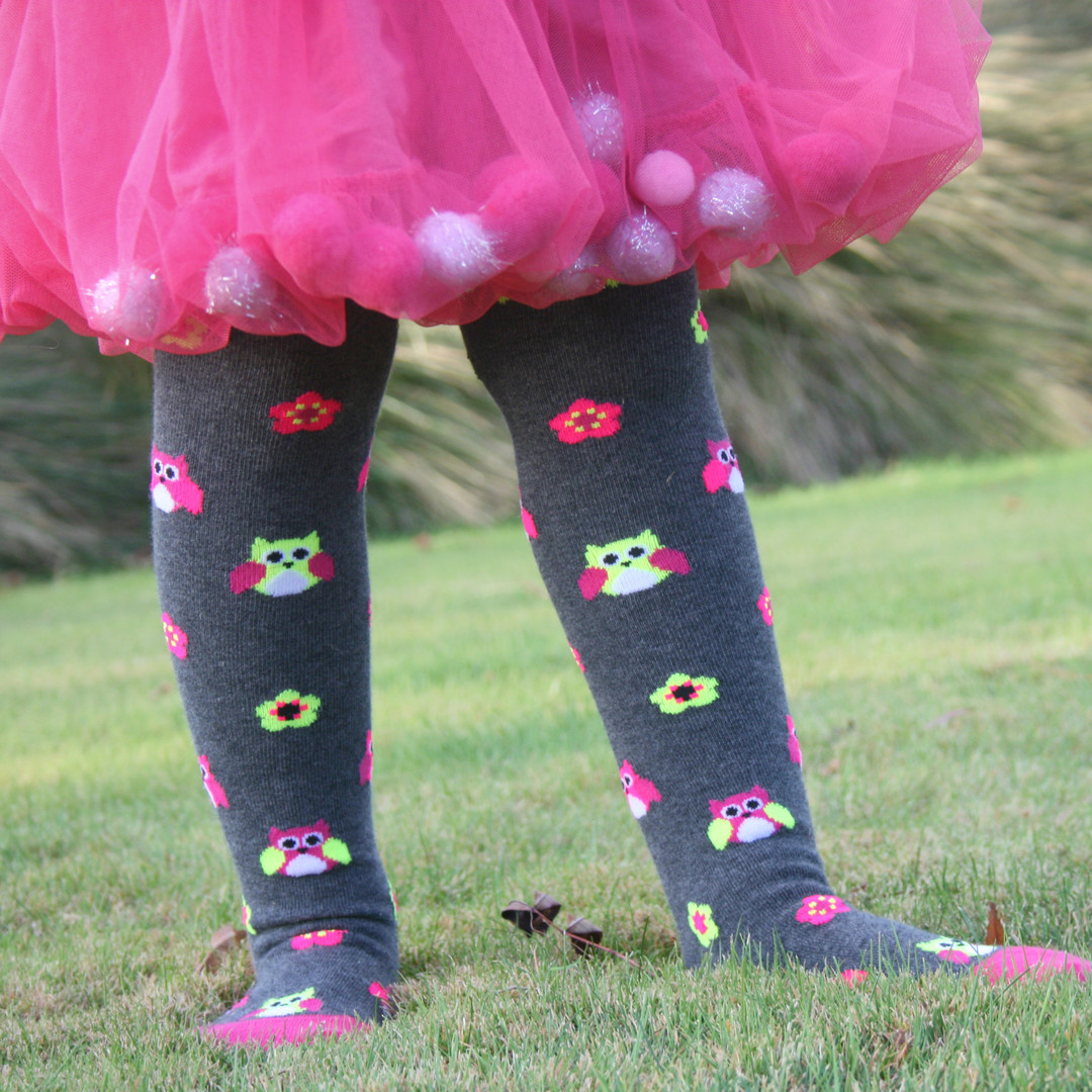 Cotton Tights - Owl and Flower image 0