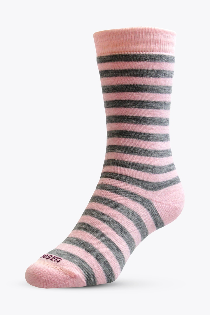 Full Cushion Merino Sock with Pink Stripes - Womens one size fits all. image 1