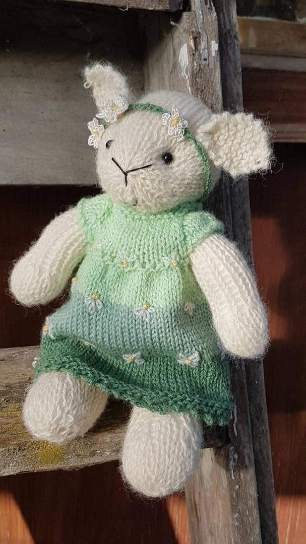 Wool Lamb Teddy - green stripe with head band image 1