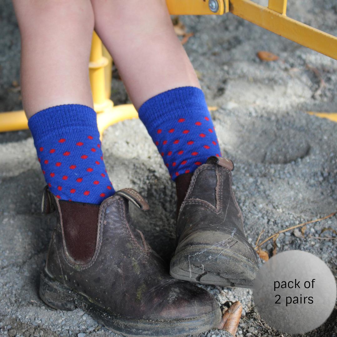 Merino Crew Socks - Blue Dot image 0