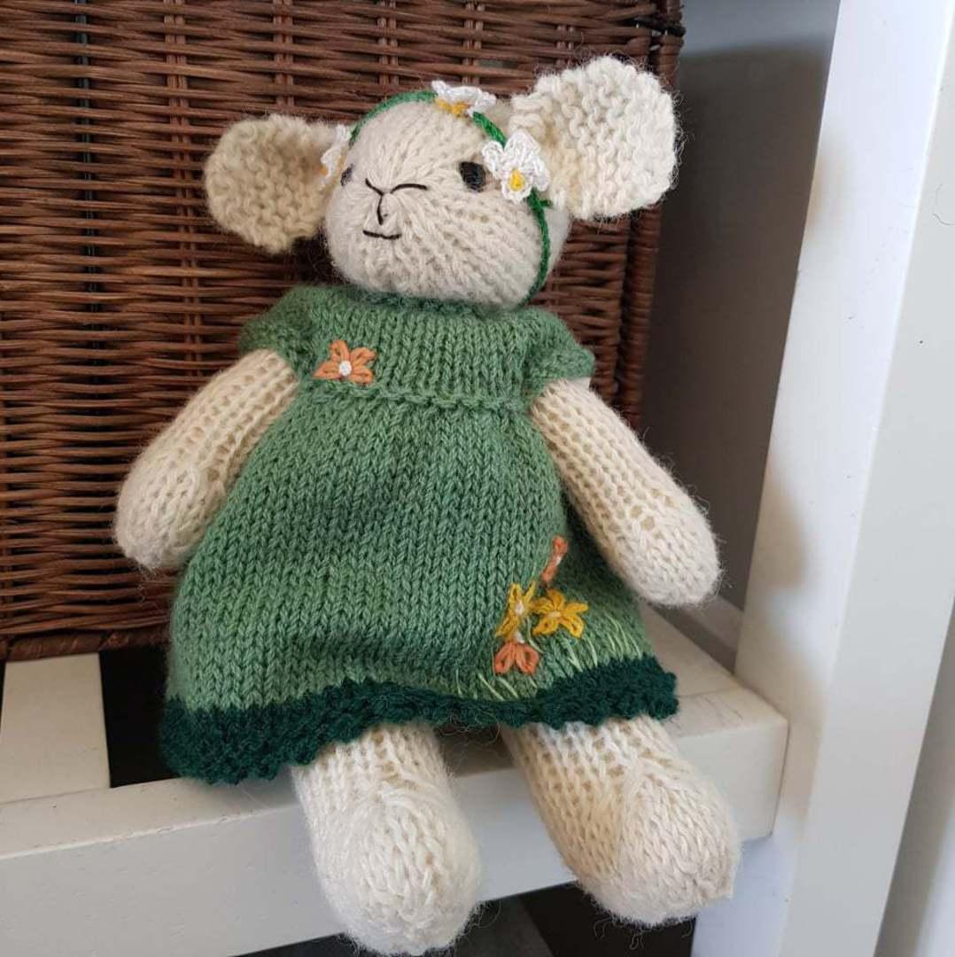 Wool Lamb Teddy - dark green with head band image 0