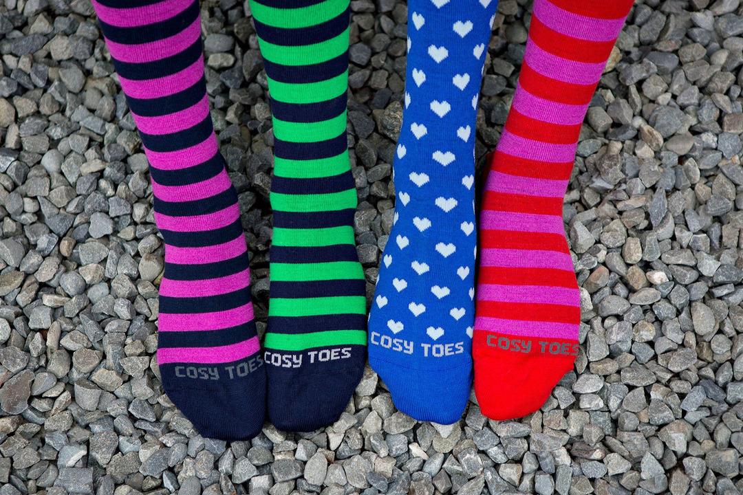 Merino Socks - Knee High Hearts and Stripes image 4