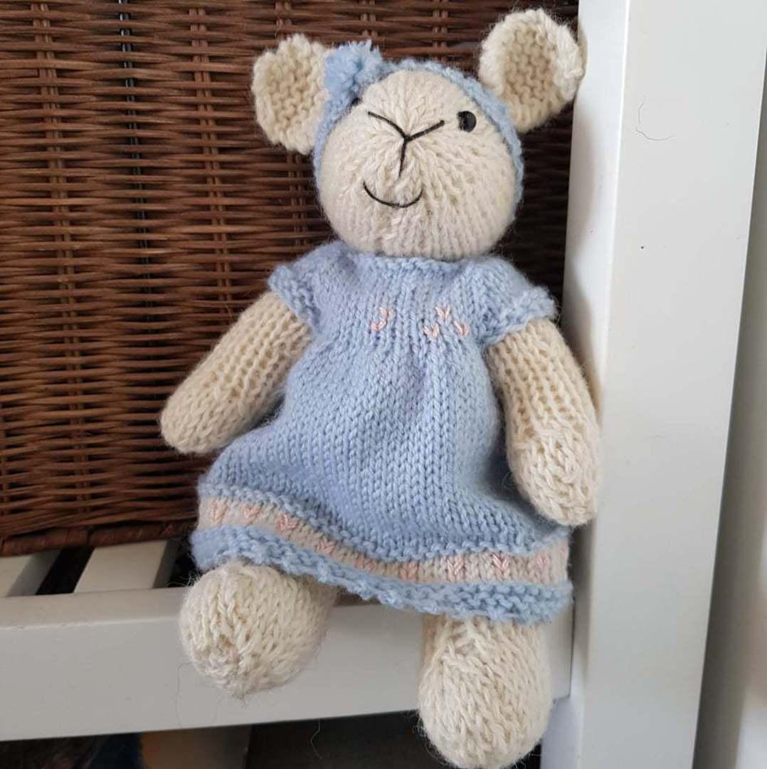 Wool Lamb Teddy - blue dress with pom pom headband image 0