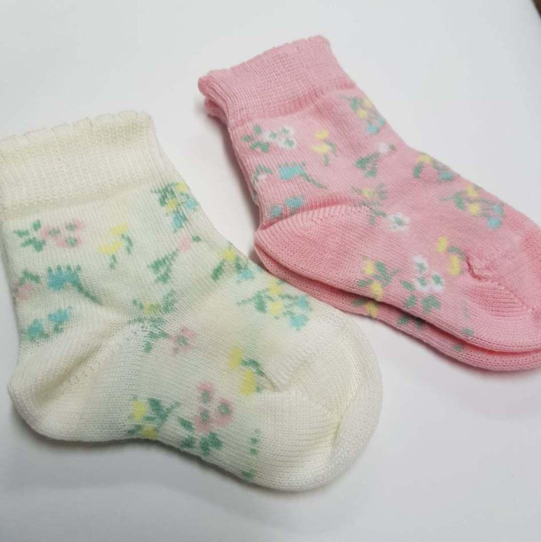Merino Baby Socks with Flowers image 0