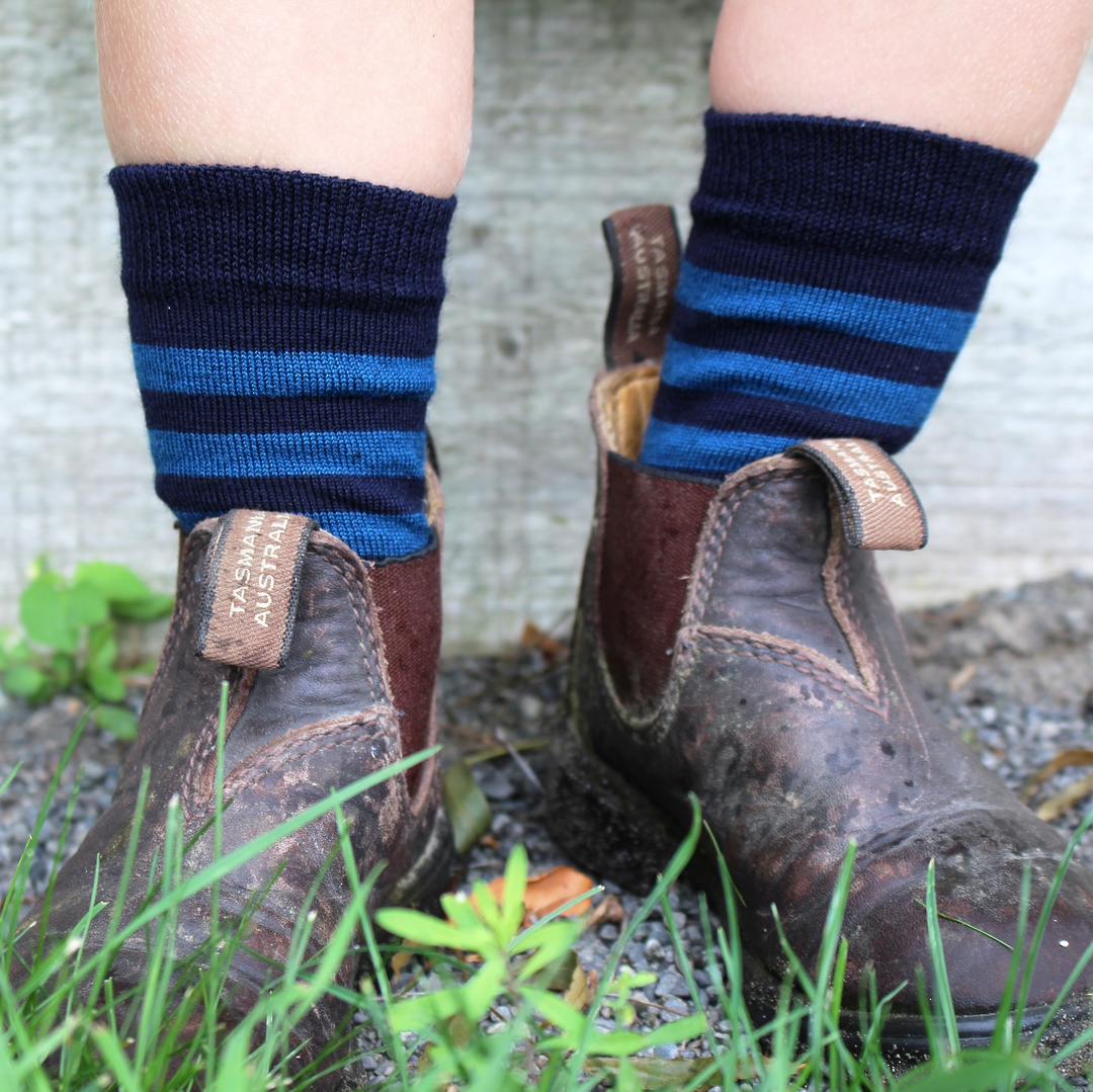 Merino Crew Socks - Navy with blue stripe image 1