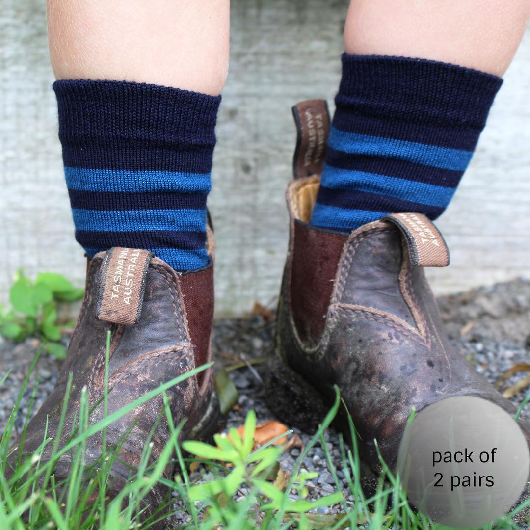 Merino Crew Socks - Navy with blue stripe image 0