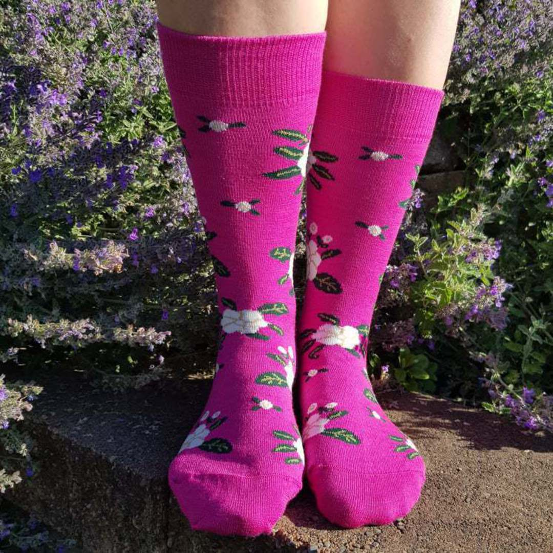 Cosy Merino Flower Socks - one size fits all. image 2