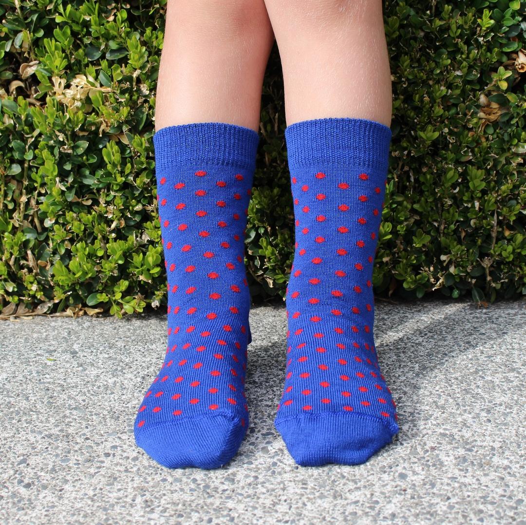 Merino Crew Socks - Blue Dot image 1
