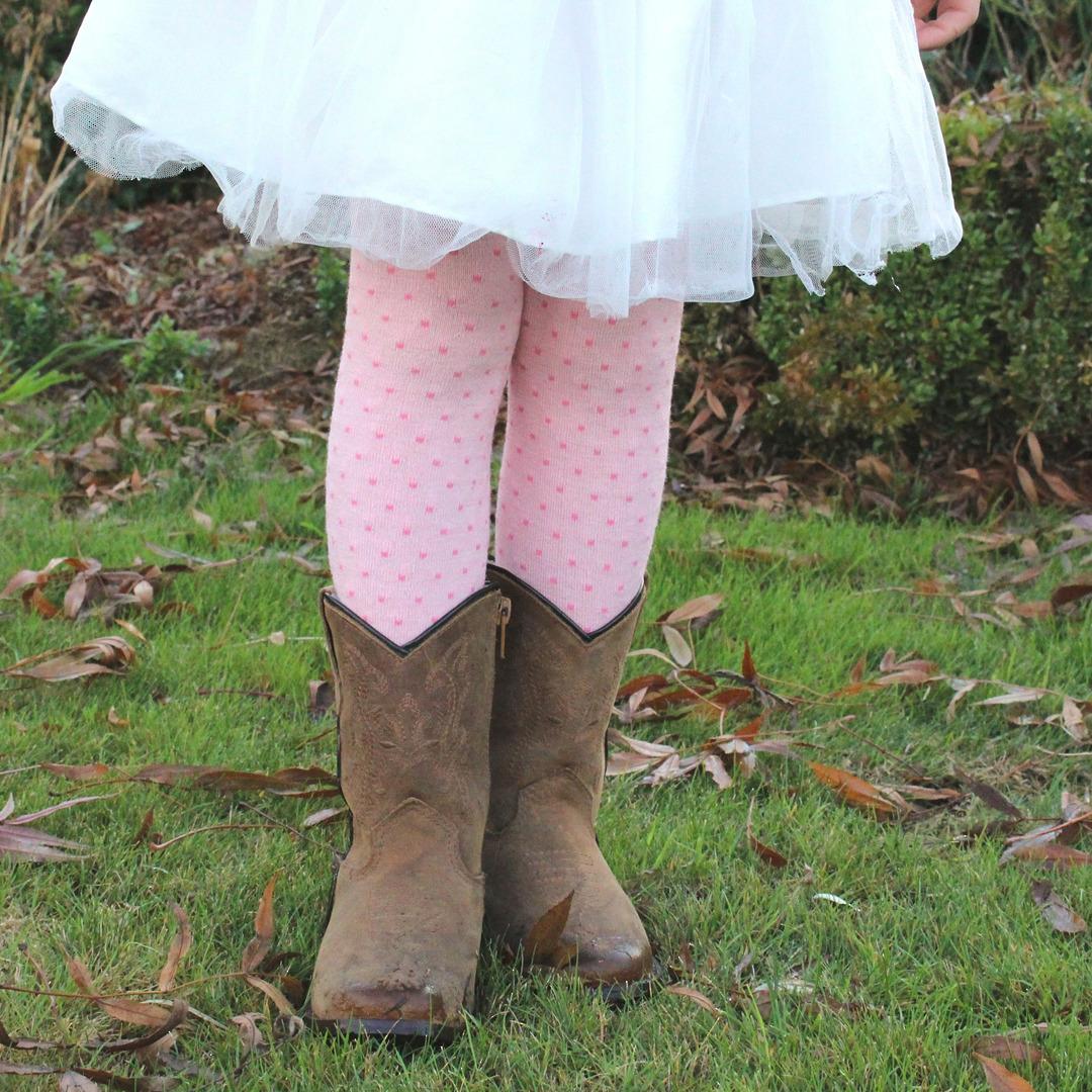 Merino Tights - Pink Polka Dot image 0