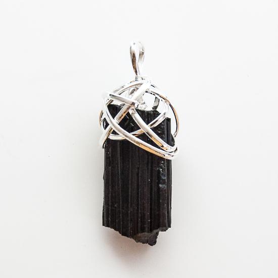 Crystalmountain Logo: Rough Black Tourmaline Wire Wrap Pendant