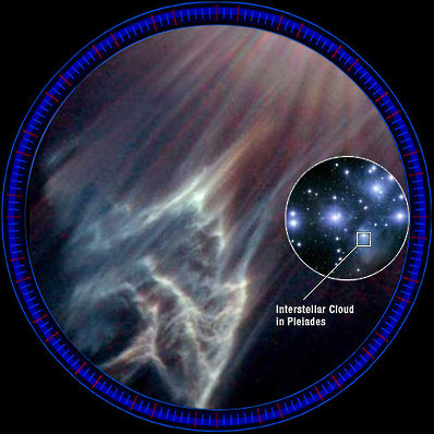 Pleiades interstellar nebula cloud reflects starlight