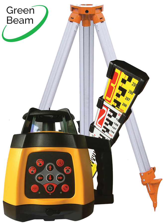 RL250SG Green Beam Rotating Laser Level c/w Staff and Tripod 519937 image 0