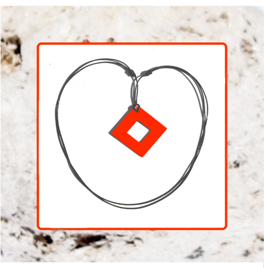 Macrocarpa Orange Square Cut Pendant and Cord image 0