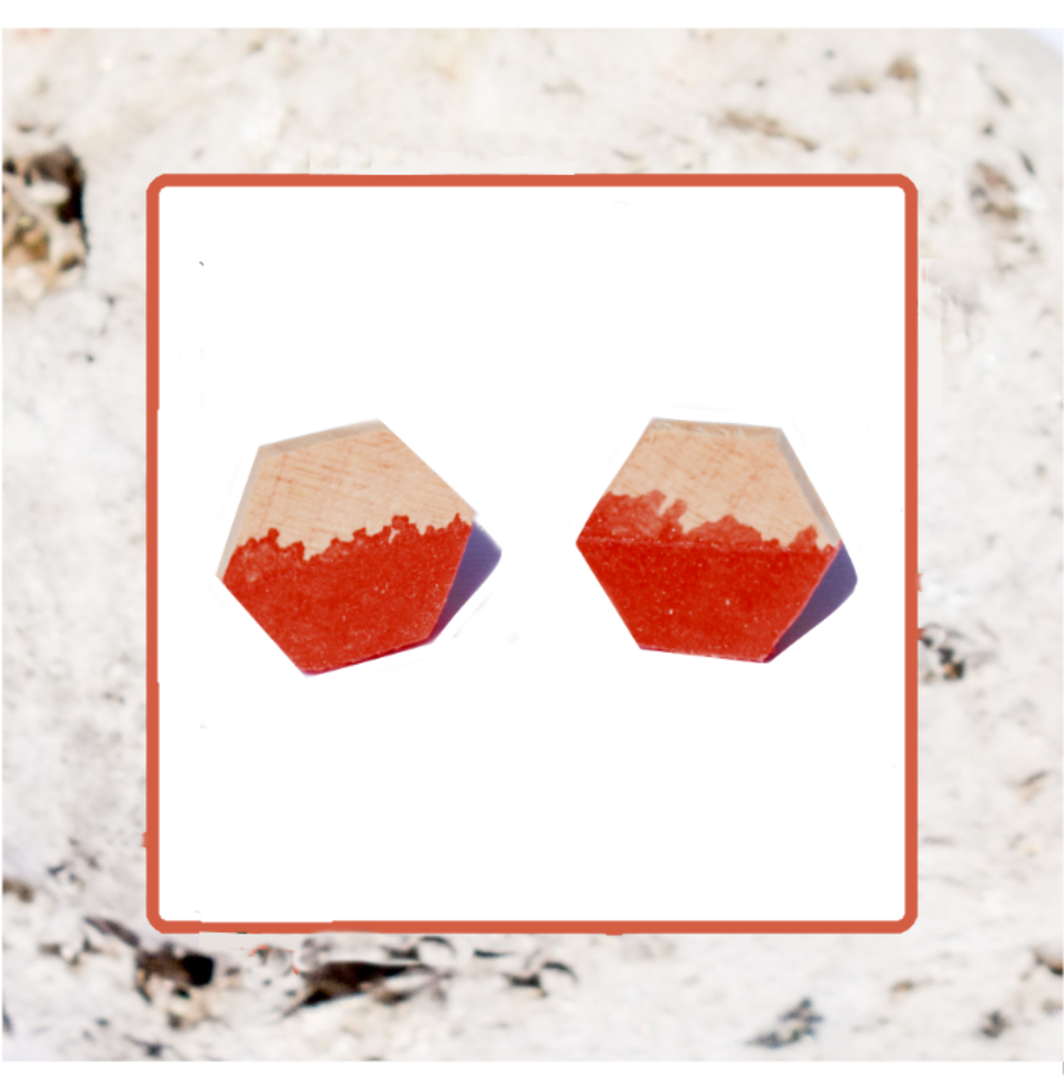 Macrocarpa Hexagonal Earrings image 1