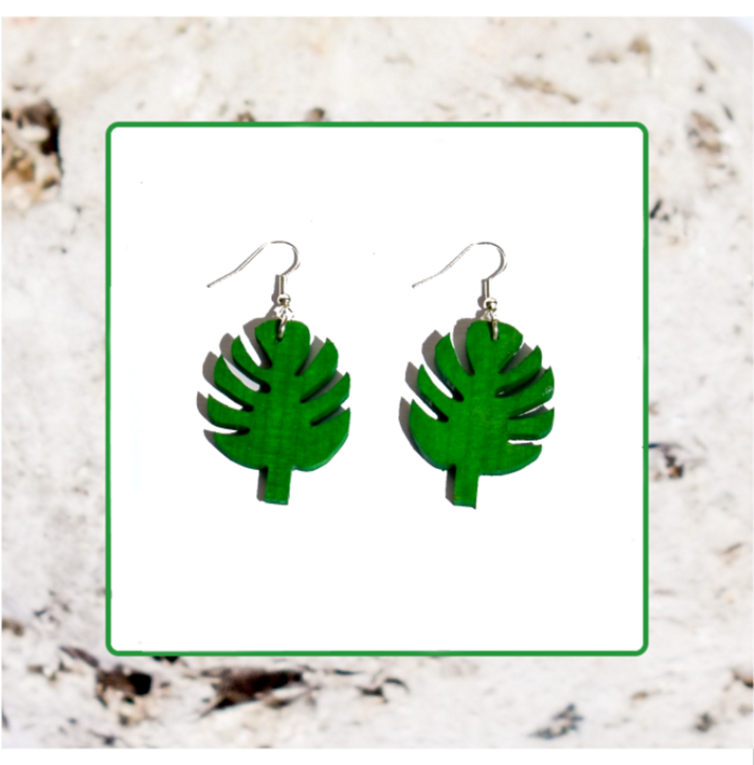 Macrocarpa Palm Leaf Earrings image 0