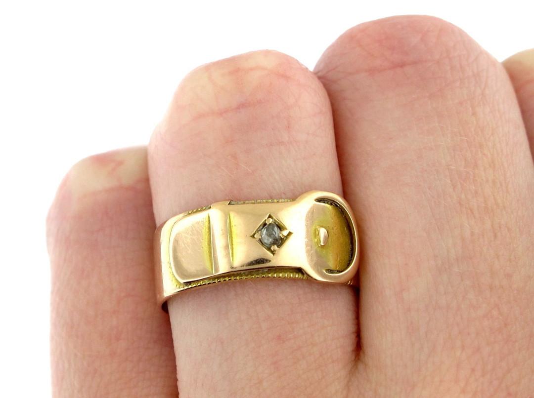 15ct rose gold buckle style diamond set ring image 2