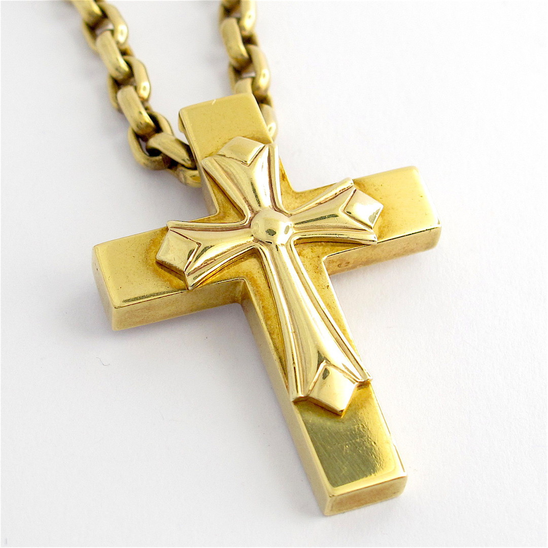18ct yellow gold cross pendant with oval belcher chain image 0