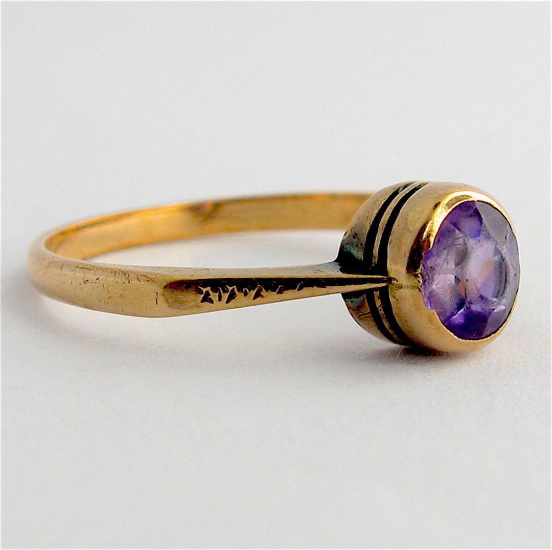 9ct rose gold vintage amethyst dress ring image 1