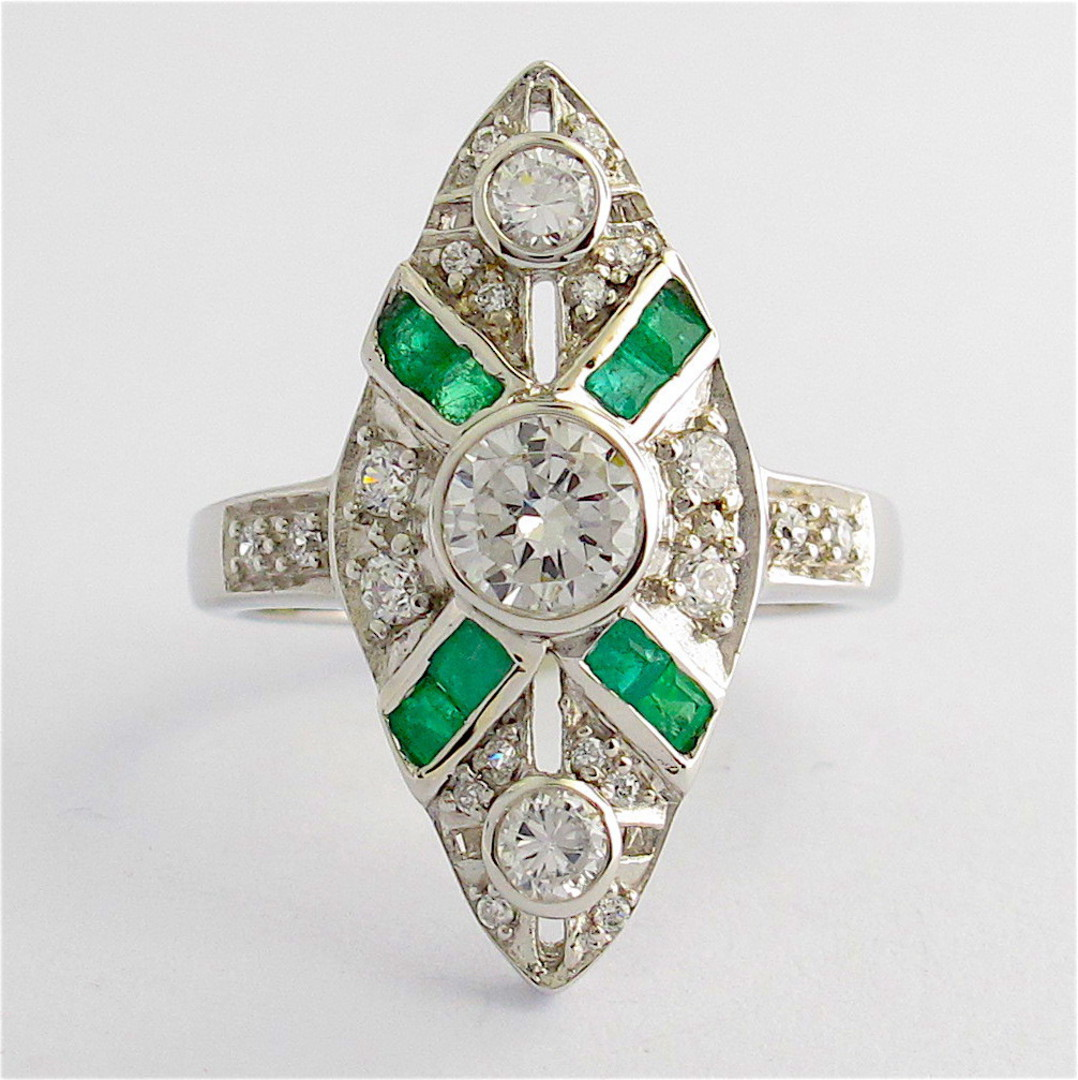 Sterling silver natural emerald and cubic zirconia ring image 0