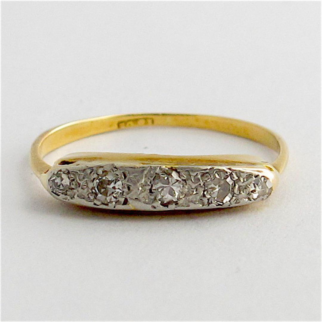 18ct yellow gold and platinum vintage diamond ring image 0