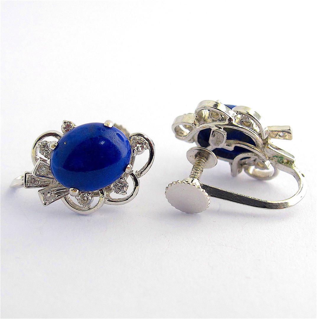 18ct white gold lapis lazuli & diamond 'screw on' earrings image 1