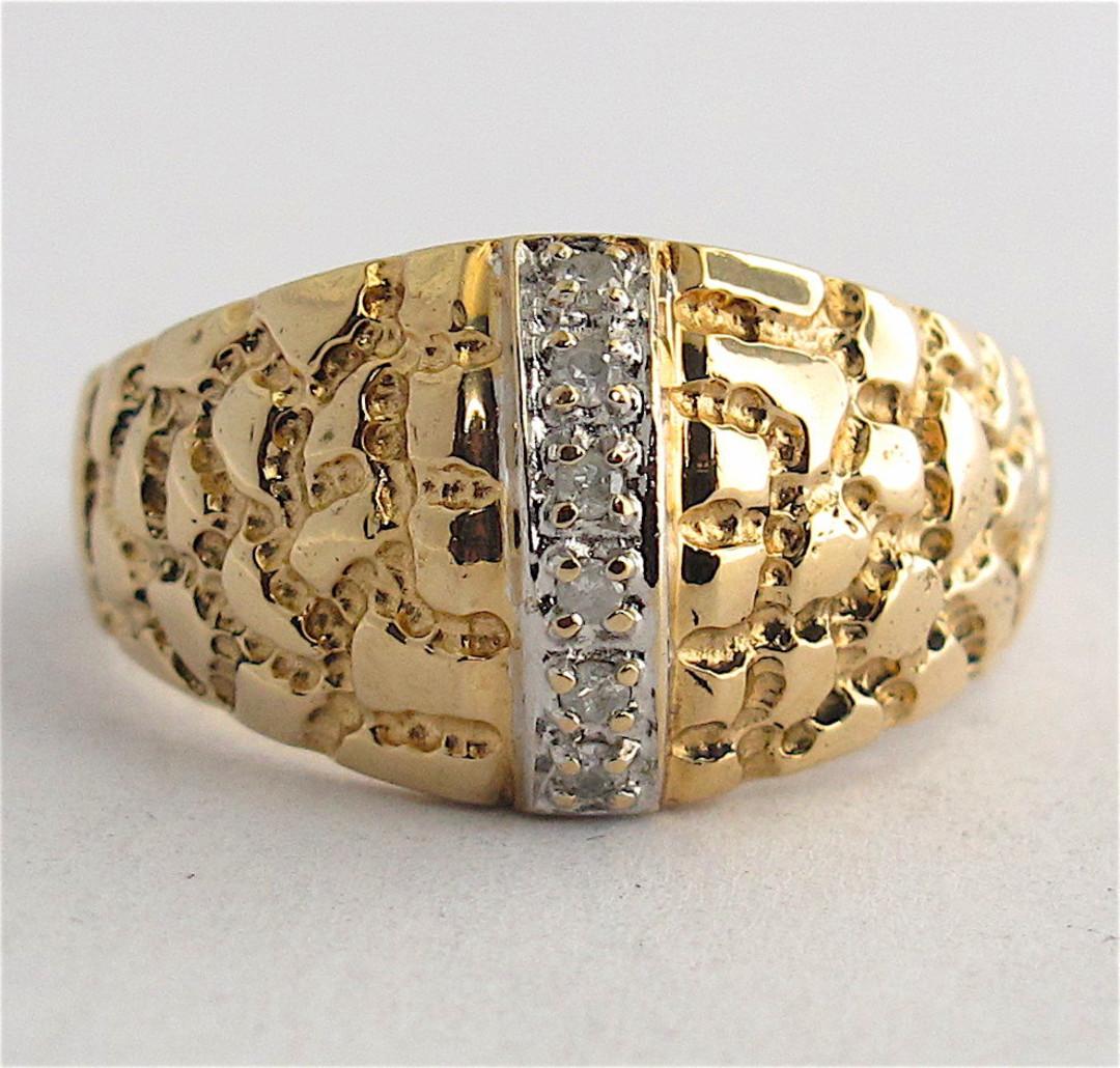 14ct yellow gold dome style diamond dress ring image 0