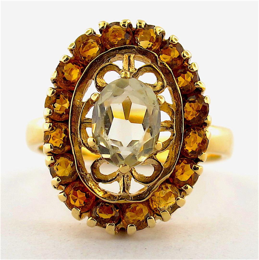 9ct yellow gold light peridot and citrine ring image 0