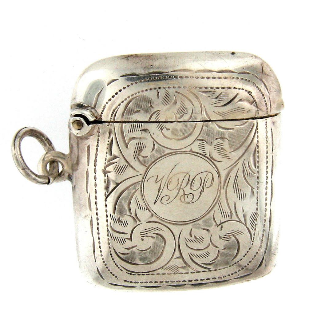 Sterling silver patterned vesta box image 0