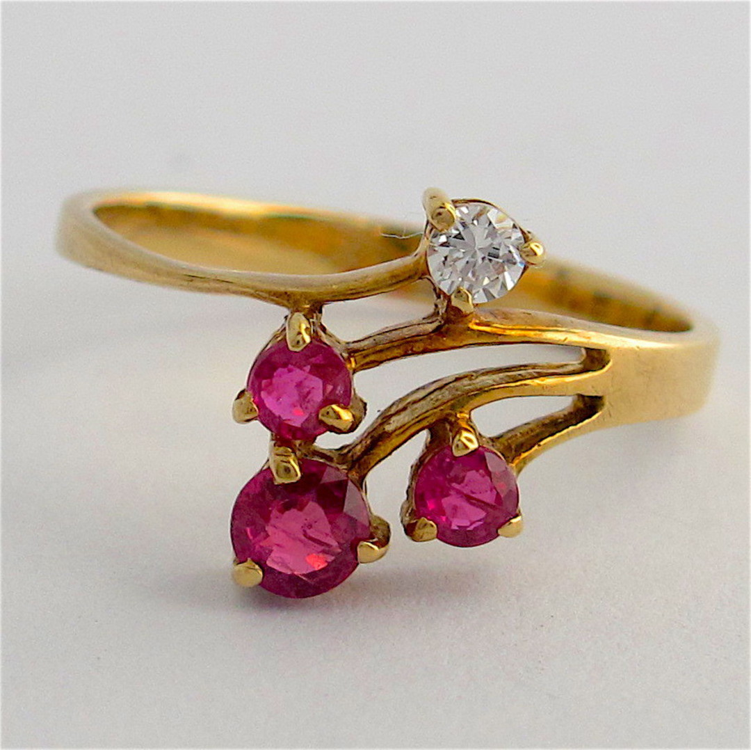 14ct yellow gold ruby and diamond ring image 0