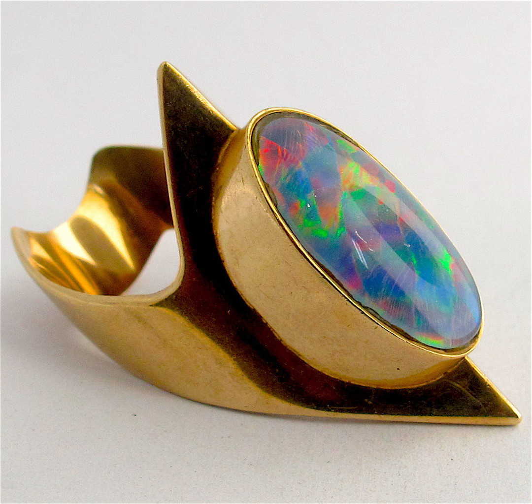 9ct yellow gold unique opal triplet ring image 1