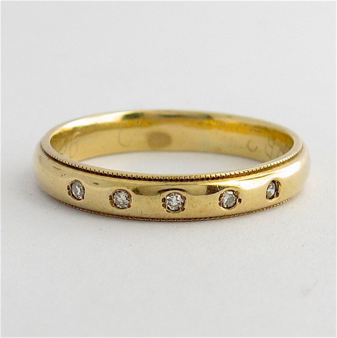 9ct yellow gold 5 stone diamond band image 0