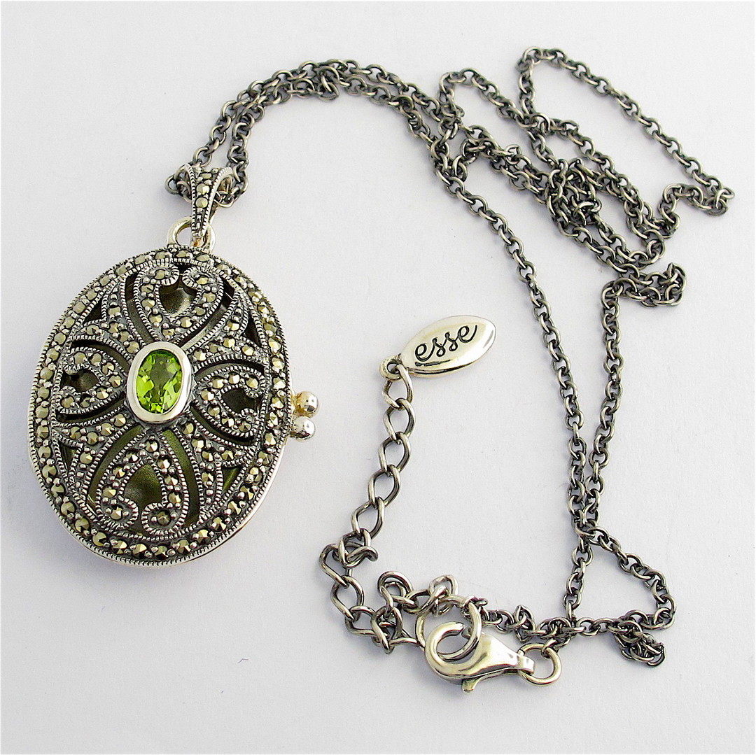 Sterling silver marcasite and peridot locket and chain image 0