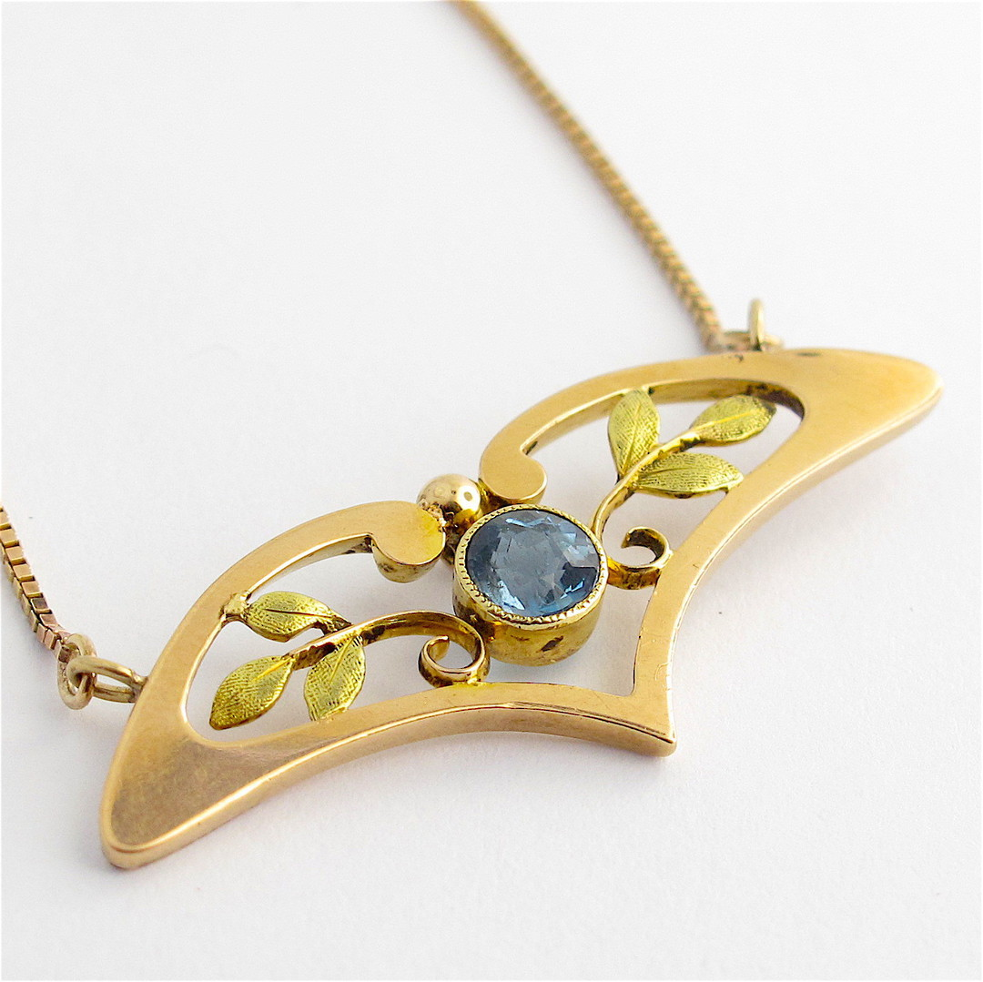 9ct yellow and rose gold antique aquamarine necklace image 0