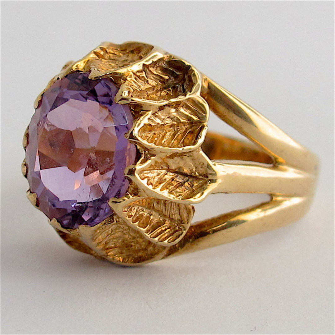 9ct yellow gold amethyst ring image 1