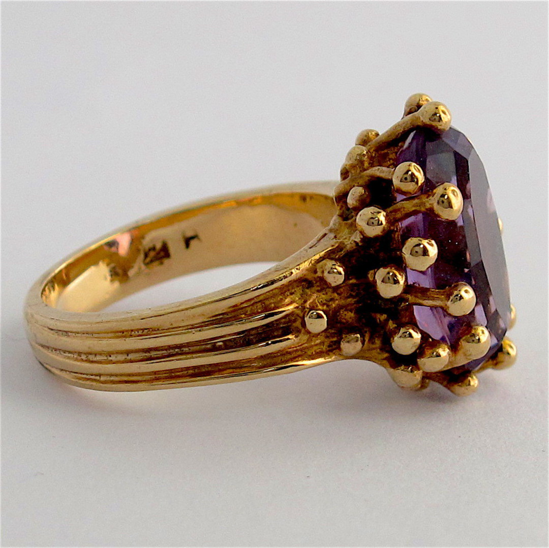 9ct yellow gold fancy amethyst set ring image 2