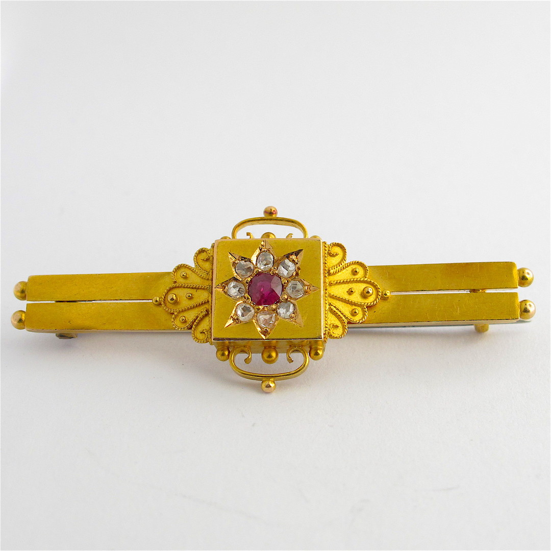 15ct yellow gold antique ruby and rose cut diamond mourning brooch image 0