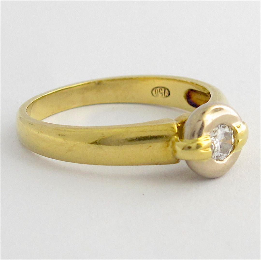 18ct yellow and white gold rub over set diamond ring image 1