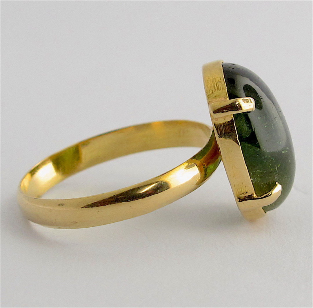 18ct yellow gold green tourmaline ring image 1