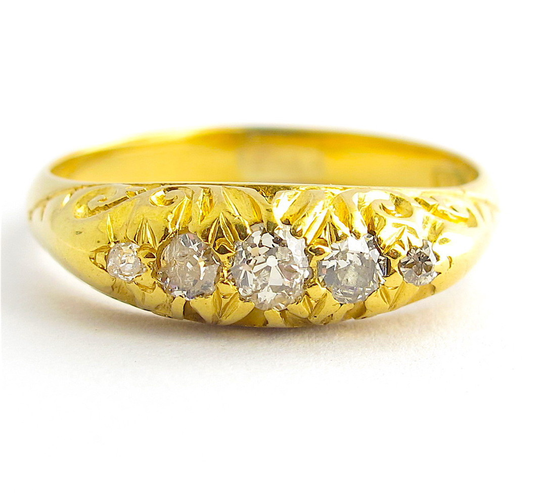 18ct yellow gold antique Old European cut five stone diamond ring image 0